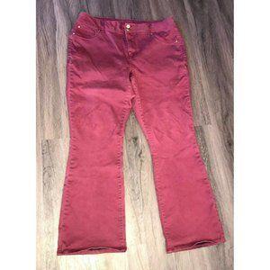 Iman Maroon False Pocket Zip Up Size 16W Boot Cut